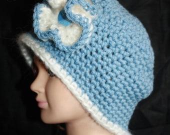 Blue Hat, crochet, very warm, big flower