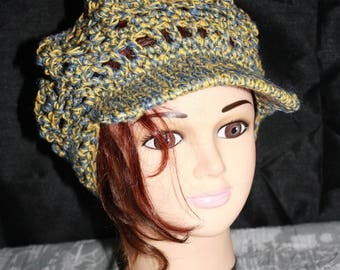 Hat in cotton and linen was head circumference 54-57 cm openwork