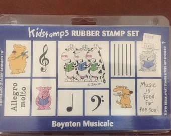 SANDRA BOYNTON Rubber Stamp Boxed set of 11 Boynton Musicale stamps 1995 5C006