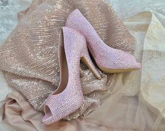 Swarovski Crystal Light Rose Blush Pink Princess Bridal Mid Heel Luxury Custom platform peep toe Leather Pump