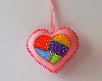 Handmade Felt Pink Heart Ornament with Embroidered Crazy Patch Center