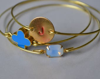 Closeout item-------- Gold Initial Bangle Set. Blue Flower Bangle Set. Jewelry -Bridesmaid  Gift .#