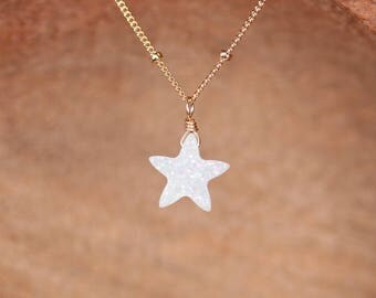 Angel aura star necklace -  aura quartz necklace - white druzy star necklace - crystal star necklace