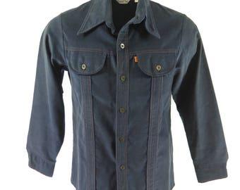 Vintage 70s Levis Panatela Tops Shirt Mens L Corduroy Orange Tab [I02P_1-5]