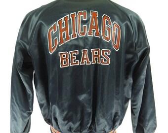 Vintage 80s Chicago Bears Chalk Line Jacket Mens XL NFL Football Shiny Satin [H12I_1-2]