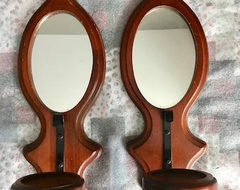 "Vintage set 2 large 17"" wood mirror pillar wall sconces metal art triple beveled trim black scrolls"