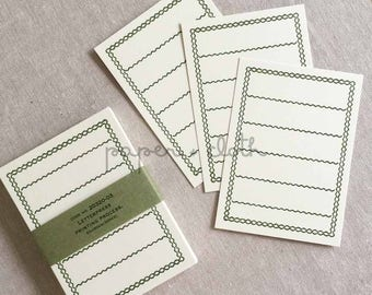Green Border Blank Letterpress Note Cards - Classiky