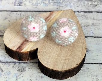 Dainty Floral Studs - Tilda Flower Fabric Button Stud Earrings - Silver Plated Posts - 15mm Diameter