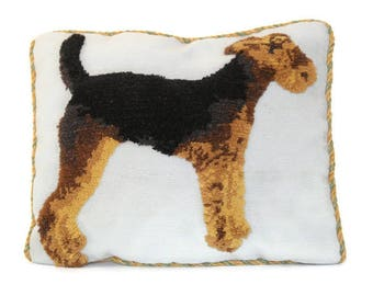 needlepoint dog pillow cover needlepoint dog needlepoint terrier needlepoint airedale terrier pillow cover