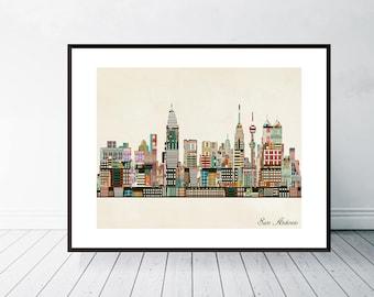 San Antonio Texas Skyline.san Antonio Cityscape. San Antonio City Skyline.  Colorful Pop