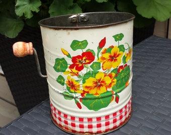 Vintage Flour Sifter Retro Kitsch Kitchen Flowers Gingham
