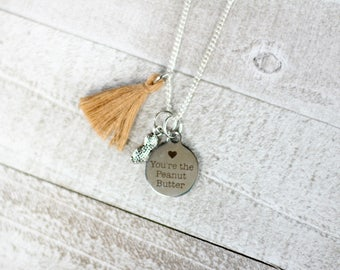 Peanut Butter Necklace - You're the peanut butter - Love Jewelry - Silver peanut