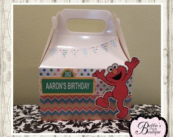 Elmo party favor box, Elmo gable box, 10 Elmo party favor gable box, Elmo favor box