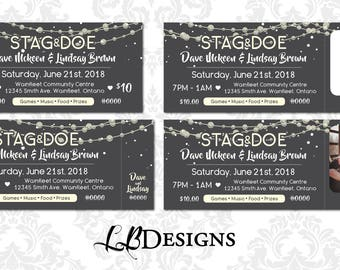 Stag & Doe Tickets - Stringed Lights/Rustic Design