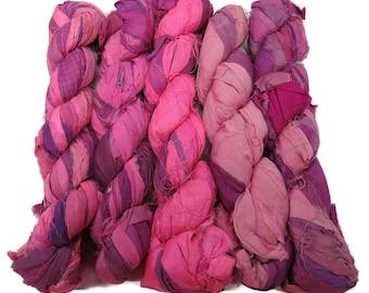 New! Recycled Sari Silk Ribbon, 100g skeins , Bubblegum
