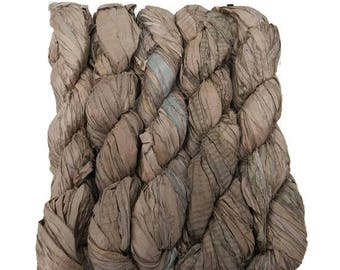 SALE New! Recycled Sari Silk Ribbon, color: Taupe