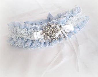 Personalized Light blue ivory / off white lace garter toss hen wedding bridal garter Boxed
