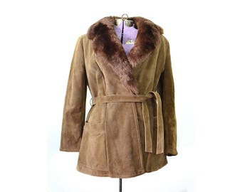 Shearling Coat, Suede Coat, Fur collar coat, 1970s coat. 70s Coat, Brown Suede Coat, Vintage Suede Coat