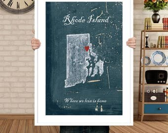 Customizable map of Rhode Island, home is where the heart is, Housewares, Rhode Island decor,living room decor, bedroom decor, travel