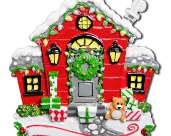 Red House Personalized Christmas Ornament / New Home Ornament / Our First Home / Real Estate Agent / Realtor Gift / New House