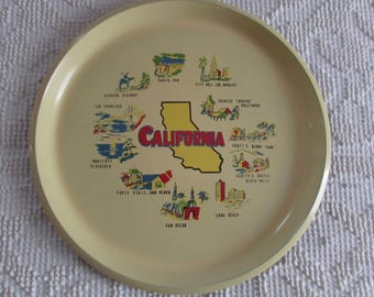 A Vintage California Display Platter of Some of The Must See Places to Visit. Tray,