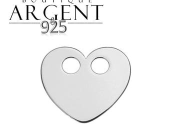 Heart charm in 925 Silver with 2 holes - 13 mm heart shape