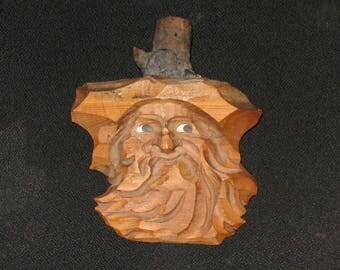 Wooden Chiseled Rustic folk art Santa