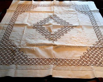 Art Nouveau Arts And Crafts Lace Cut And Draw Work Linen Tablecloth, C. 1900