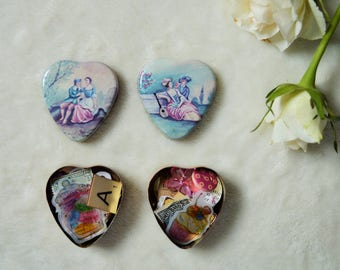 Heart Shaped Mini Tin of Ephemera Pieces