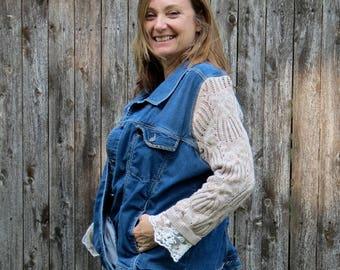Tan Texture Knit + Lace Sleeves Mixed Media Blue Stretch Denim Jacket