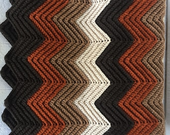 Large vintage 70s hand crocheted afghan blanket Rippled Chevron in Shades of Brown Beige Retro sofa throw / blanket Mid Century Lodge decor