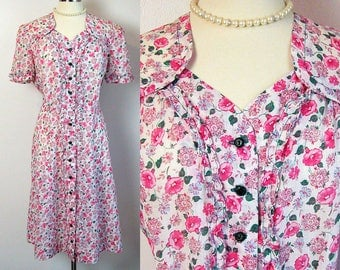 Feedsack Dress - 30s Pink Morning Glory Print Housedress Daydress - Ruffled Trim - Full Button Front - Excellent Condition - Size Large