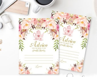 Advice for the Bride to be Tea Party Bridal Shower cards, Words of wisdom cards, Gold text Watercolor flowers Peach Boho, DIGITAL FILES WS19