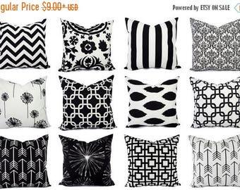 15% OFF SALE Black Decorative Pillow Cover - Black Pillow Cover - Black and White Pillow - 16 x 16 inch 18 x 18 inch 20 x 20 in Lumbar Pillo