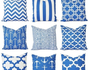 15% OFF SALE Cobalt Blue Pillow Covers - Blue Throw Pillows - Throw Pillow Covers - Royal Blue Decorative Pillows - Royal Blue Pillows - Acc