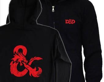 DUNGEONS & DRAGONS HOODIE - S - 5XL - logo symbol hoody - Screen Printed Not Transfer