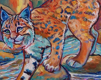 Canyon Cat bobcat lynx Original acrylic painting