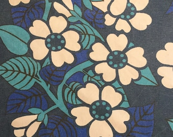 70s swedish vintage fabric. Mod retro floral print. Scandinavian design Hippie colorful sewing quilting blue turquoise floral fabric