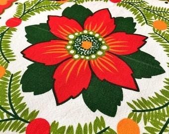 60s christmas vintage Swedish mid century retro floral print flower power tablecloth with mod hearts Scandinavian design scandi