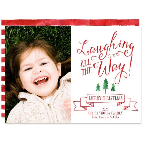 Printed Photo Christmas Cards Laughing All The Way Holiday