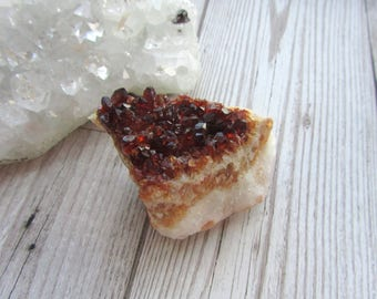 Dark Citrine Druzy Cluster - Baked Amethyst Gemstone Specimen - Natural Yellow Crystal