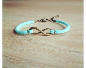 Infinity bracelet suede sky blue