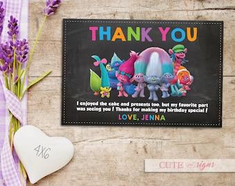 Trolls Thank You Card, Trolls Chalk Invitation, Trolls Party Theme, Trolls Girls, Digital Download