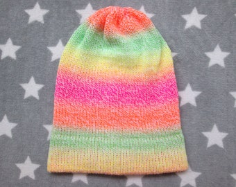 Knit Hat - Neon Pastel Gradient - Yellow Green Orange Pink White - Slouchy Beanie