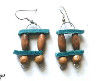 Tiny Teal Leather Earrings with Wooden Beads