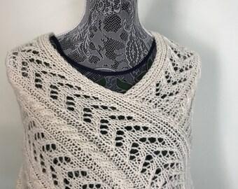 Wedding Poncho - Boho Poncho - White Poncho - Wool Poncho - Lace Poncho - Hand Knit Poncho -Bohemian Clothing -Winter Poncho -Knitted Poncho