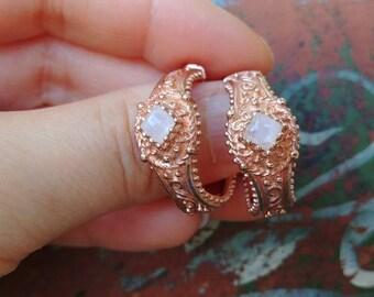 Moonstone Gold Tone Sterling Hoop Earrings