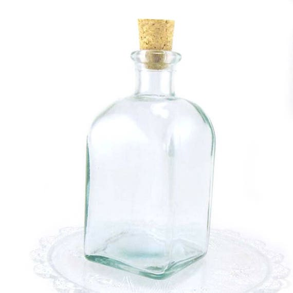 New Glass Bottles With Corks Square Cork Bottle 10oz Glass