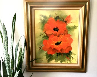Beautiful Large Vintage Red Orange Poppies Painting / Original Signed Painting / Framed Poppies Painted on Canvas