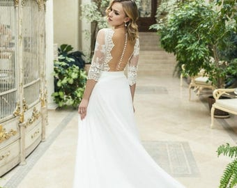 Summer Sales Ivory Chiffon Wedding Dress L19 with Lace, Lace A-line Wedding Dress with Train, Romantic Bridal Gown with Open Back, Bohemian